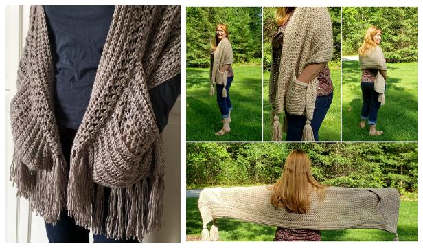 Pocket Wrap Shawl Free Crochet Patterns