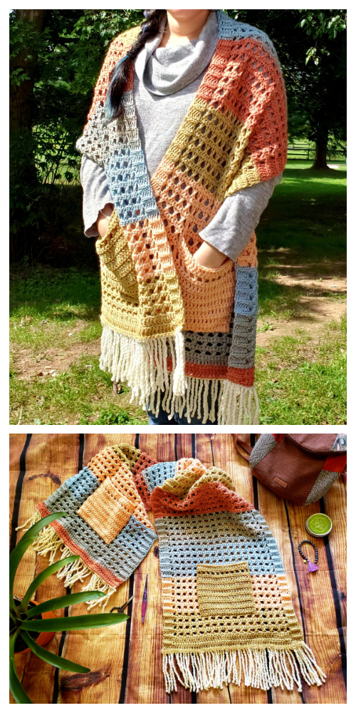 Lattice Pocket Shawl Crochet Pattern