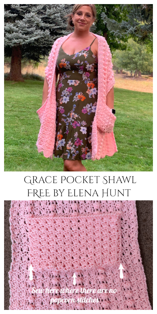 Grace Pocket Shawl Free Crochet Patterns