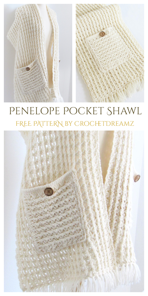 Penelope Pocket Shawl  Free Crochet Pattern