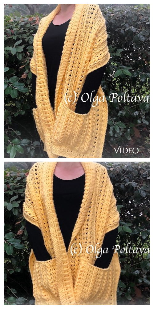 Textured Pockets Shawl Free Crochet Pattern Video