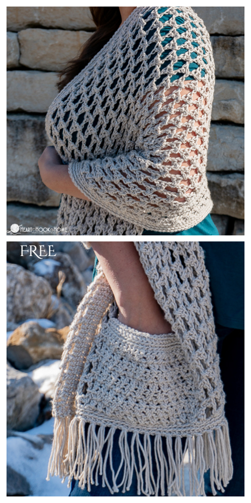 The Wanderlust Pocketed Shawl Free Crochet Pattern