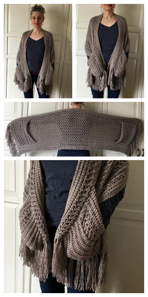 Pocket Wrap Shawl Free Crochet Patterns & Paid