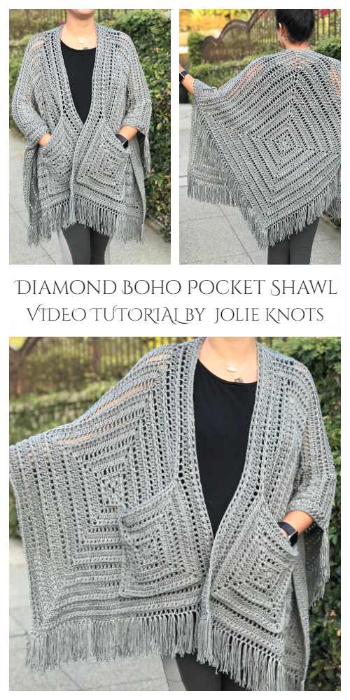 Lazy Diamond Boho Pocket Shawl Free Crochet Pattern Video tutorial