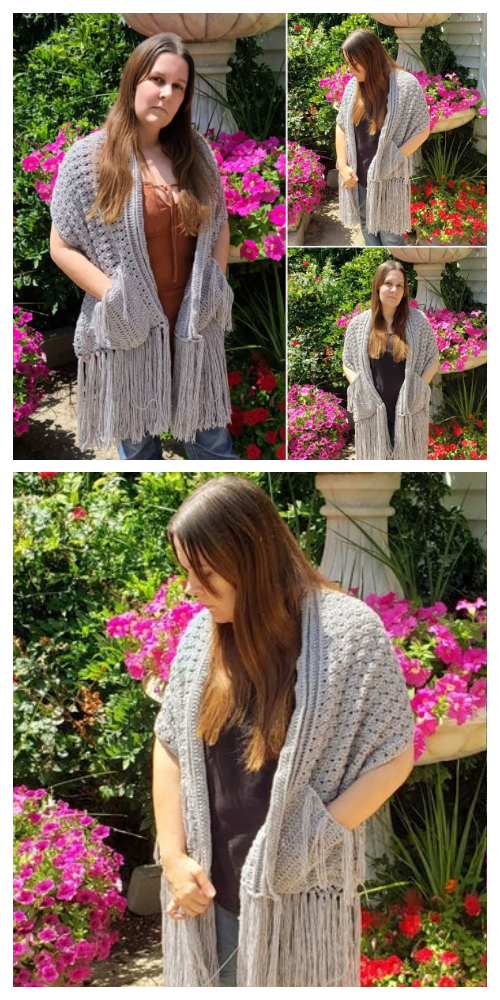 Reader's Pocket Wrap Shawl Free Crochet Patterns