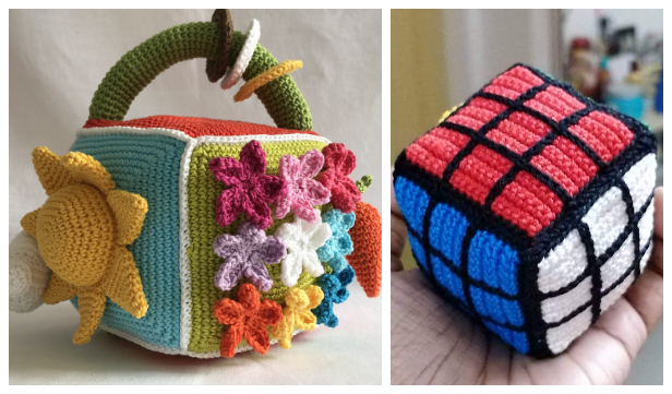 Sensory Block Cube Toy Free Crochet Patterns