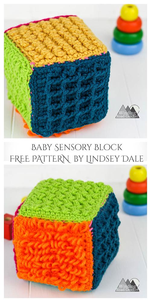 Baby Sensory Block Cube Toy Free Crochet Patterns