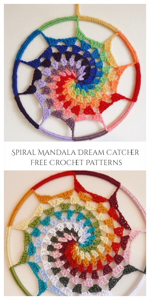 Spiral Mandala Dream Catcher Free Crochet Patterns