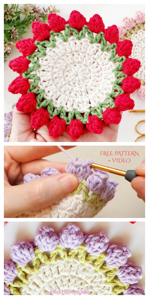 Tulip Coaster Free Crochet Patterns + Video