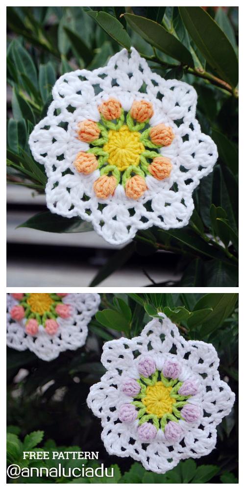 Tulip Coaster Free Crochet Patterns + Video