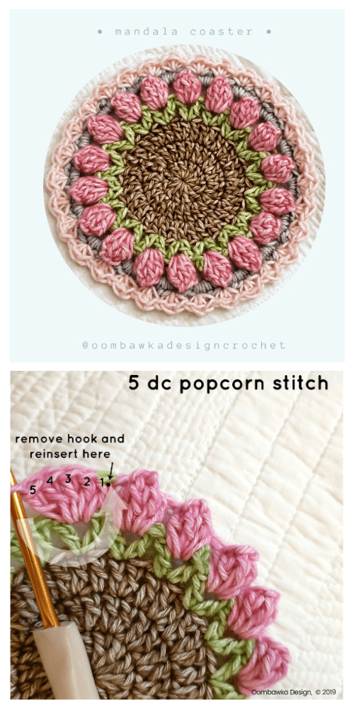 Tulip Mandala Coaster Free Crochet Patterns
