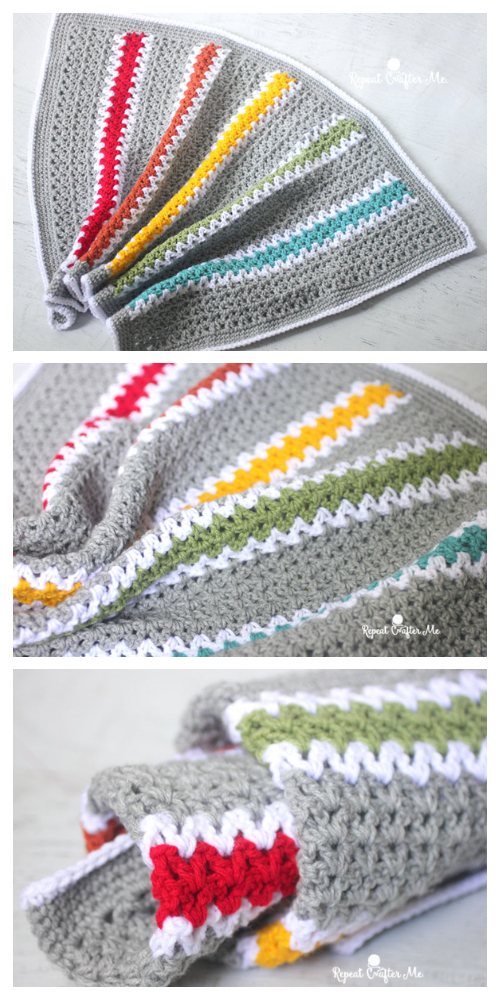 V Stitch Rainbow Blanket Free Crochet Patterns