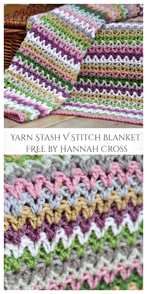V Stitch Blanket Free Crochet Patterns
