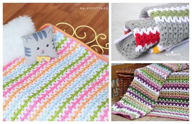 V Stitch Rainbow Blanket Free Crochet Patterns