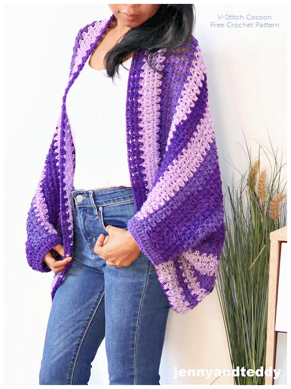 Everyday V-Stitch Cocoon Cardigan Free Crochet Patterns