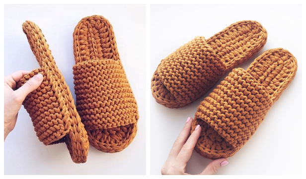 Chunky T-shirt Yarn Slippers Free Crochet Pattern + Video