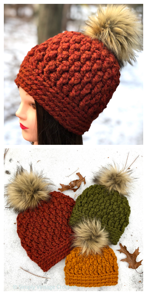 Chunky Pebbles Hat Free Crochet Patterns