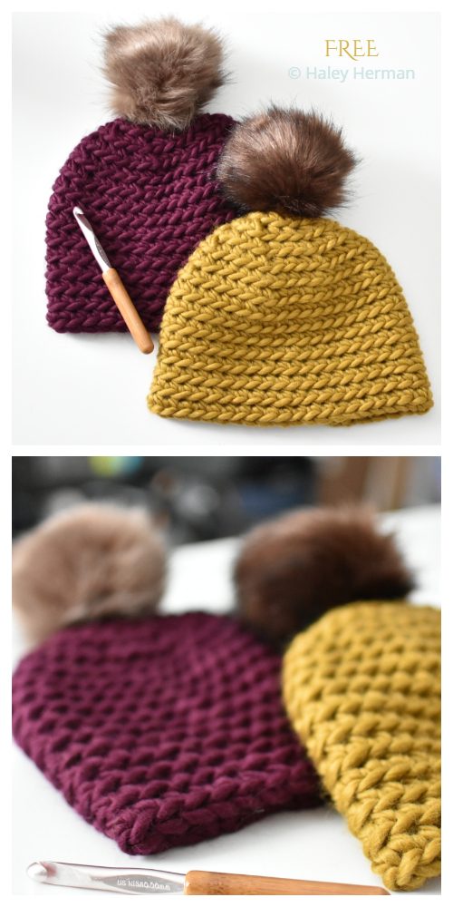 Chunky Back Loop Beanie Hat Free Crochet Patterns