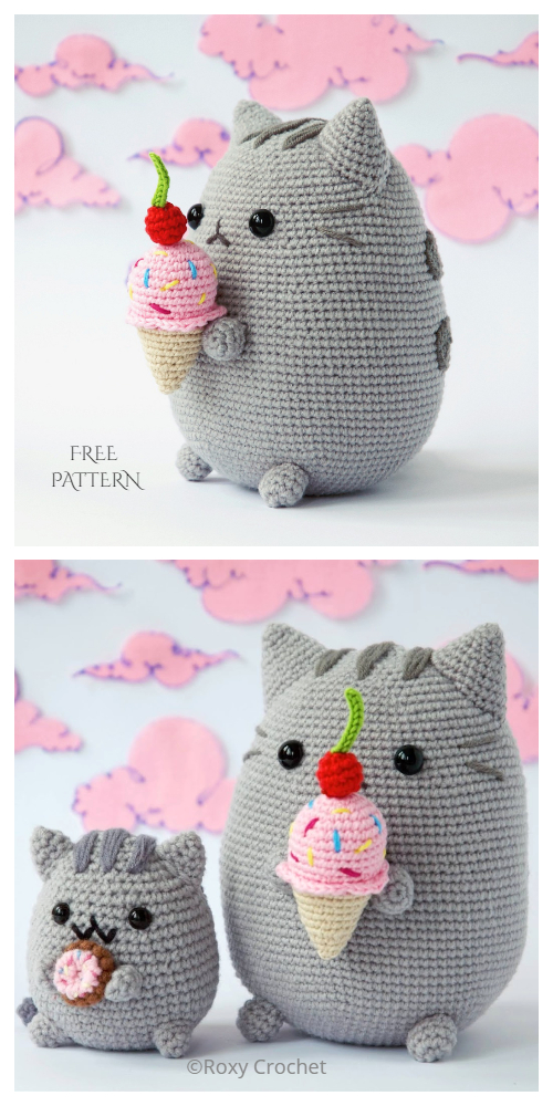Crochet Pusheen Cat with Ice Cream Amigurumi Free Patterns