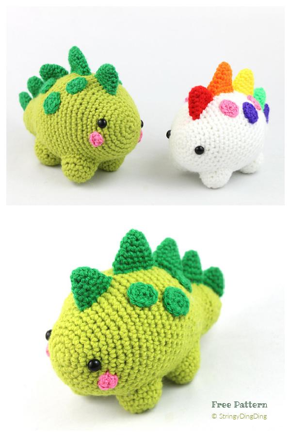 Cute Crochet Spiky Dinosaur Amigurumi Free Patterns