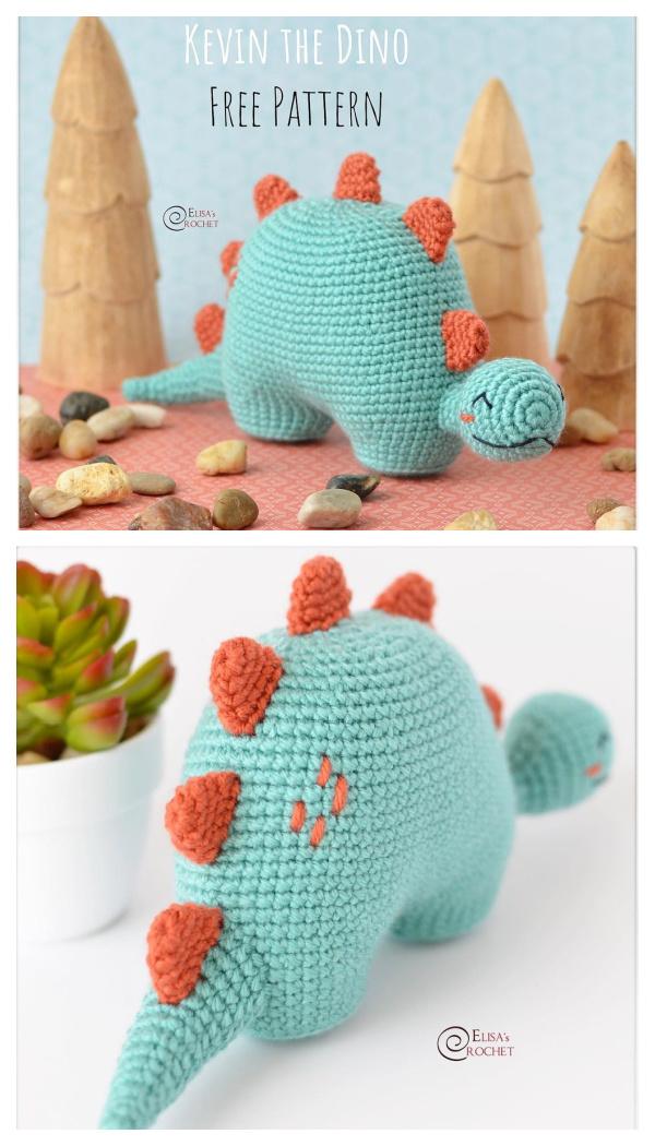 Crochet Kevin the Dino Amigurumi Free Patterns
