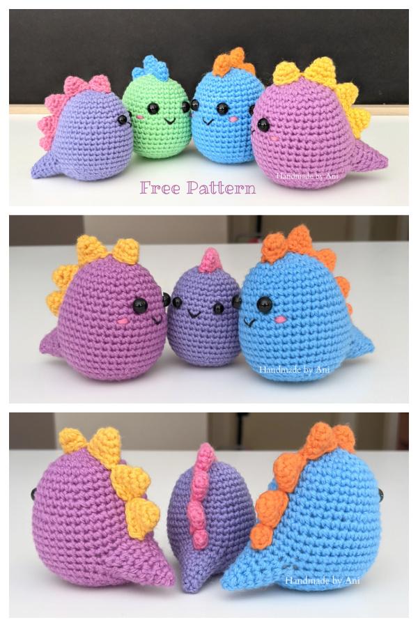Crochet Colourful Mini Dino Amigurumi Free Patterns