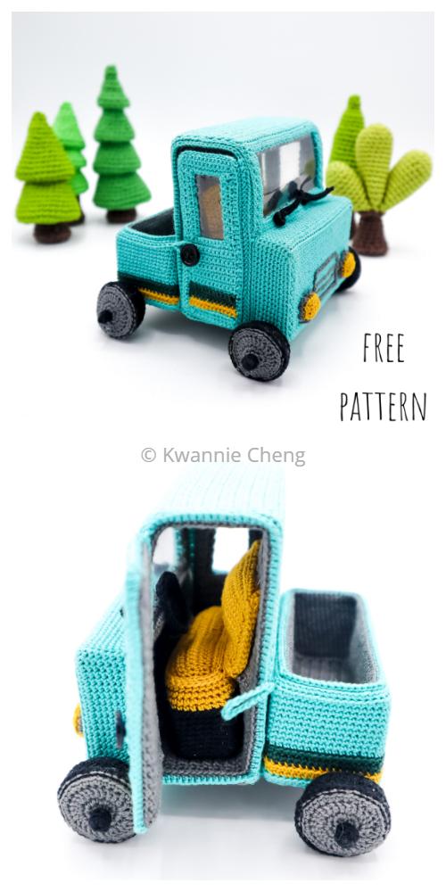 Crochet Toy Vehicle Amigurumi Free Patterns -Pickup Truck