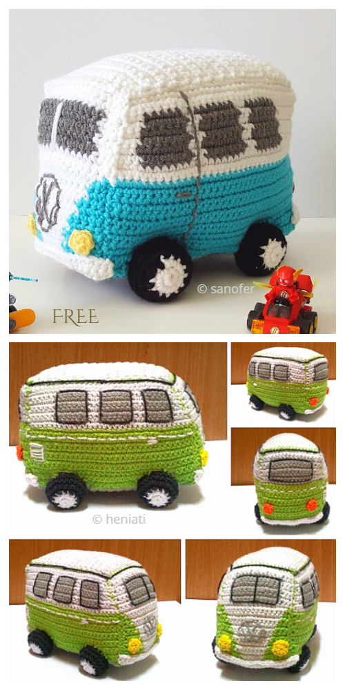 Crochet Toy Vehicle Amigurumi Free Patterns - Volkswagen Van