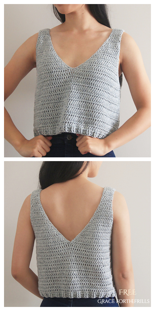 Easy Summer Sea Breeze Tank Top Free Crochet Pattern + Video