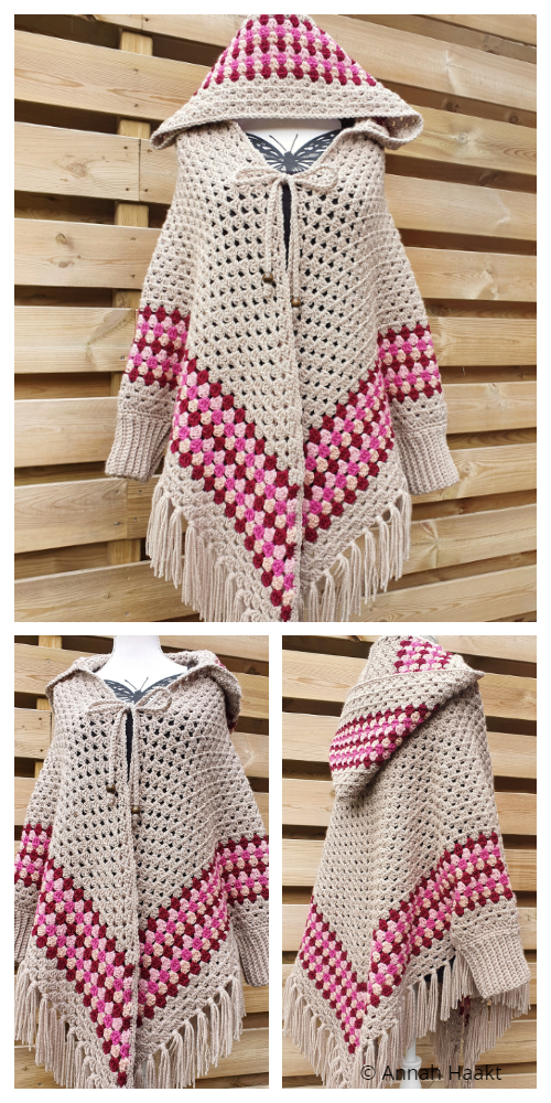 Granny Hooded Poncho Vest Crochet Pattern
