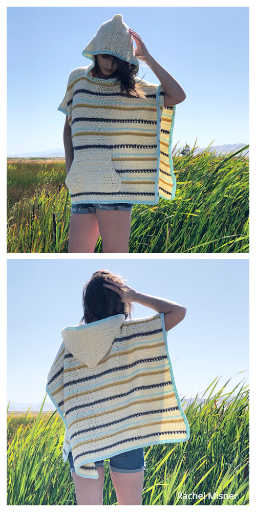 The Cross Stripe Poncho  Free Crochet Pattern