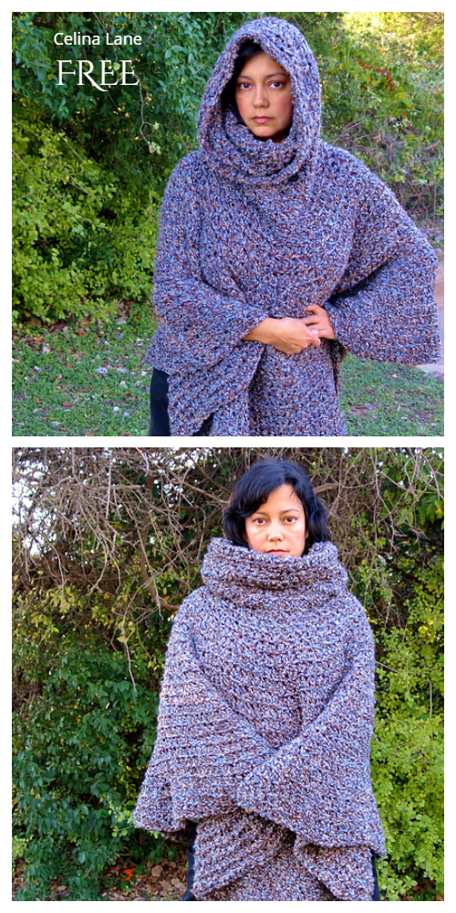 Cowl Hooded Capelet Poncho Free Crochet Pattern