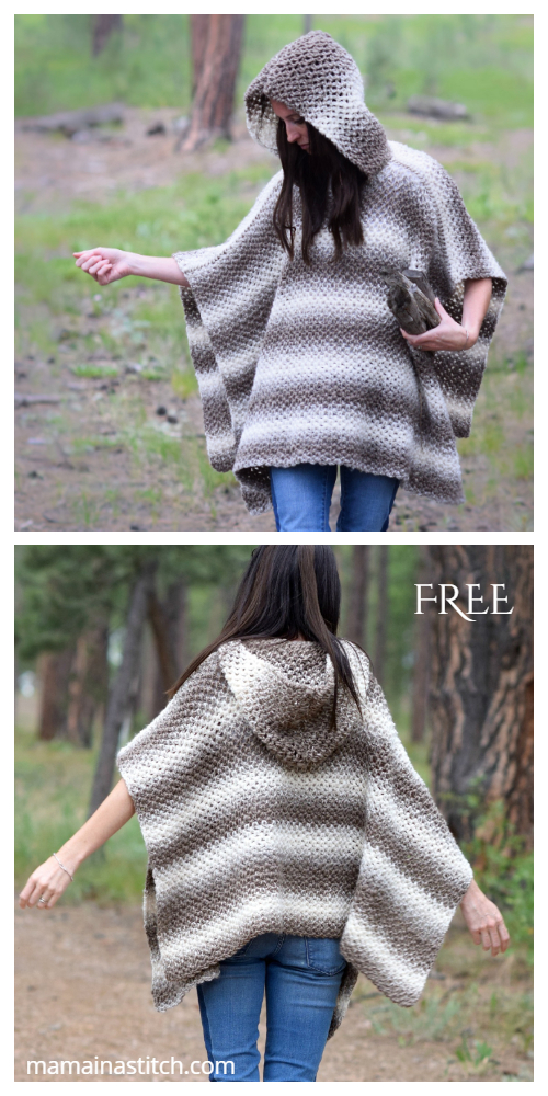 Oversized Hooded Poncho Free Crochet Pattern