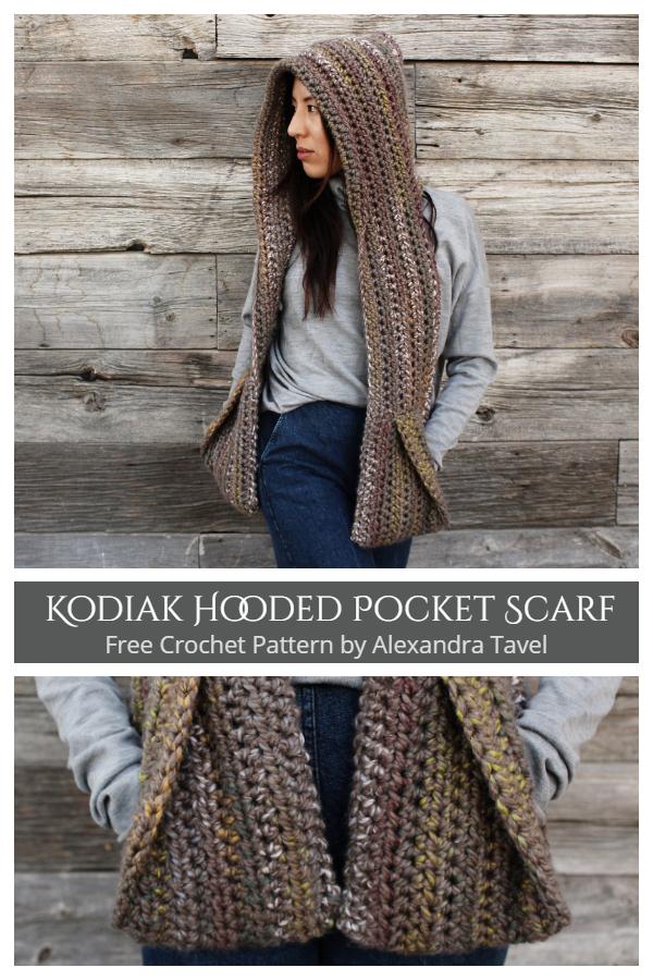 Kodiak Hooded Pocket Scarf Free Crochet Patterns