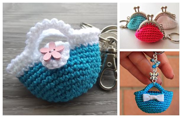 Mini Bag Keychain Free Crochet Pattern + Video
