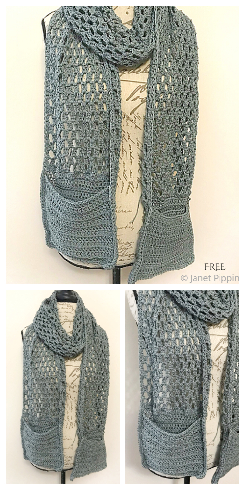 Easy Pocket Scarf Free Crochet Pattern