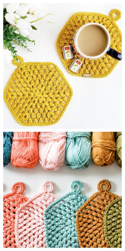 Puff Coaster Free Crochet Patterns + Video
