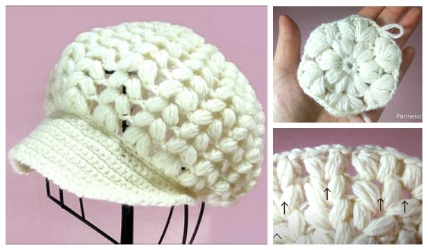 Puff Newsboy Hat Free Crochet Pattern + Video