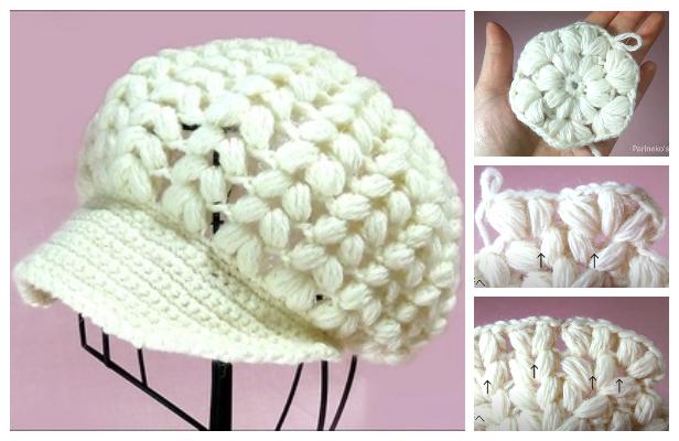 Puff Newsboy Hat Free Crochet Pattern + VideoPuff Newsboy Hat Free Crochet Pattern + Video