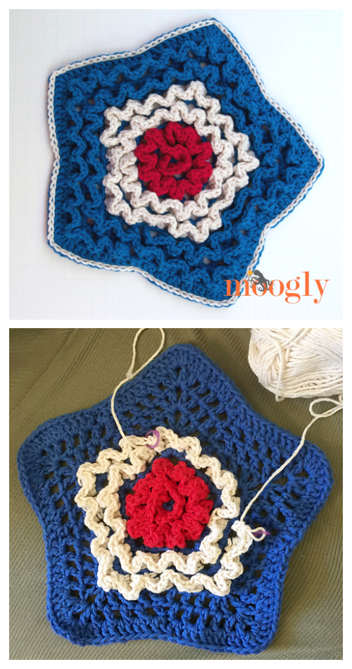Star Spangled Hot Pad Free Crochet Pattern