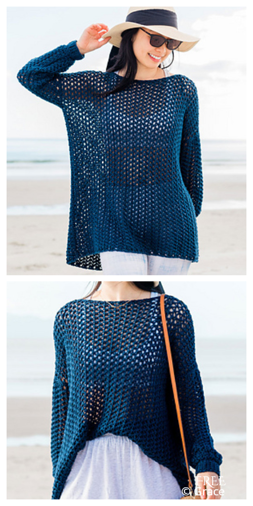 Easy Tide Knot Cover Up Lace Sweater Top Free Crochet Patterns