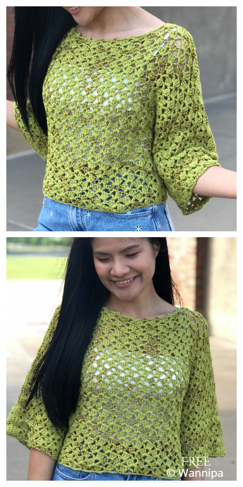 Easy Lace Sweater Top Free Crochet Patterns + Video