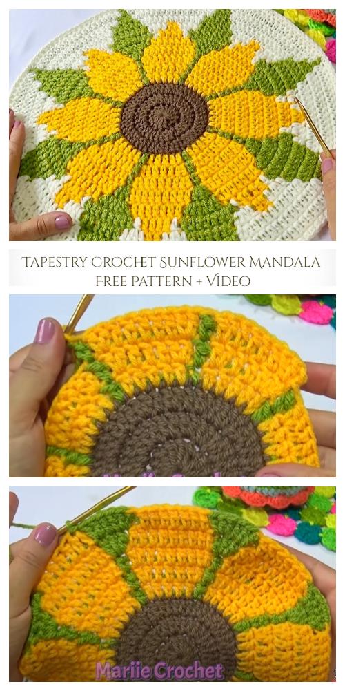 Tapestry Crochet Sunflower Mandala Free Pattern + Video
