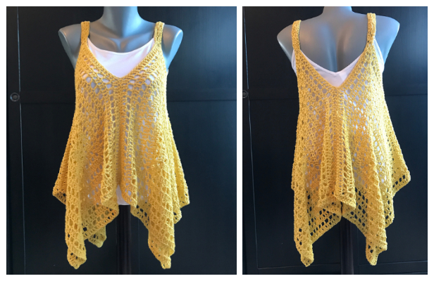 Summer Granny Square Tank Top Wrap Free Crochet Patterns