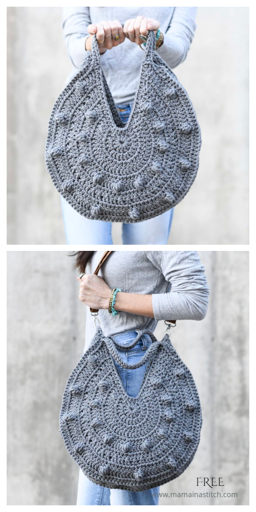 Bobble Circle Tote Bag Free Crochet Patterns