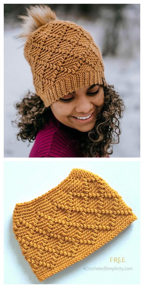 Diamonds Beanie/Messy Bun Hat Free Crochet Pattern