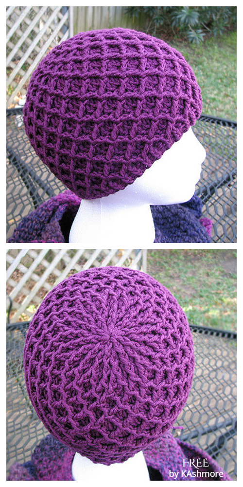 Diamond Ridges Hat Free Crochet Patterns