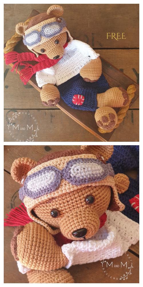 Ragdoll Pilot Bear Free Crochet Patterns