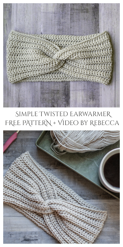 Simple Twisted Ear Warmer Free Crochet Pattern + Video