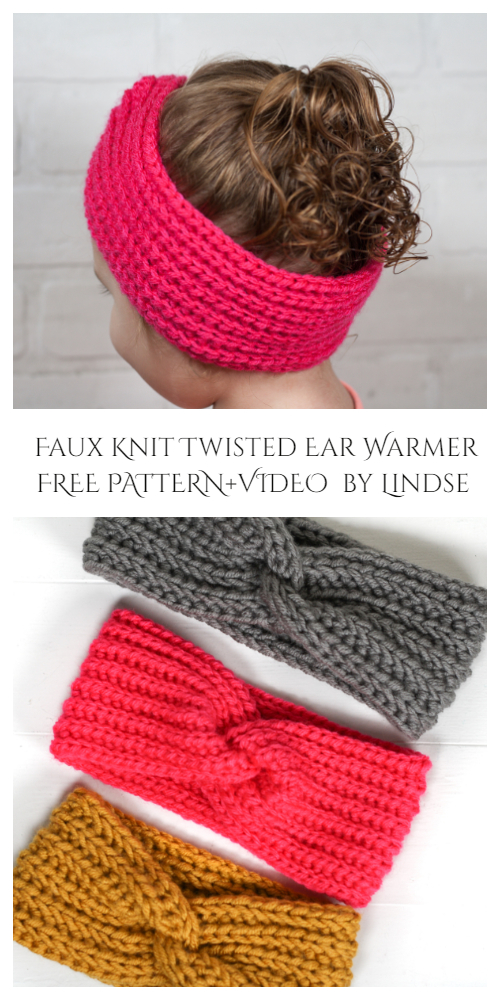 Faux Knit Twisted Ear Warmer Free Crochet Pattern + Video